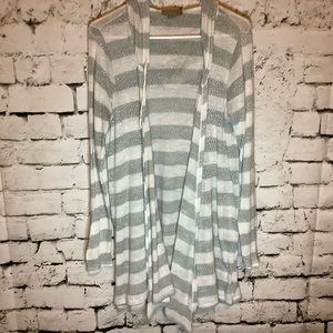 One A grey & white striped hooded cardigan